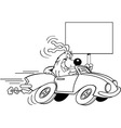 Cartoon dog driving a car and holding a sign vector image