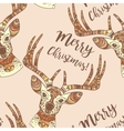 Deer face Merry Christmas seamless pattern vector image