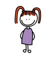 drawing girl isolated icon design vector image