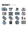 flat money icons set vector image