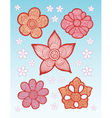 Flowers Line Pattern Decoration vector image