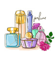 Set of perfume bottles vector image