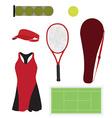 Tennis equipment set vector image