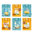dairy products banners set vector image vector image