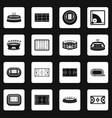 sport stadium icons set squares vector image