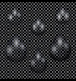 A set of transparent water drops on dark checkered vector image