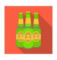 green glass beer bottles alcoholic drink pub pub vector image