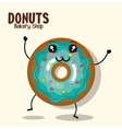 icon donut blue icing cream graphic vector image