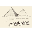 Pyramids Cairo Egypt with Caravan Camels Vintage vector image