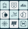set of 9 ecology icons includes sun power timber vector image