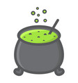 witch cauldron filled outline icon halloween vector image