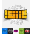 keyboard paper sticker with hand drawn elements vector image