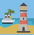 lighthouse ship beach vacation vector image