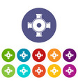 pipe piece icons set flat vector image