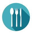 Knife Fork and Spoon Icons set in flat style with vector image