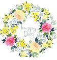 Watercolor flower wreath vector image