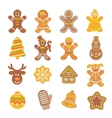 Christmas cookies flat icons set vector image