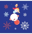 Beautiful snowman with snowflakes vector image vector image