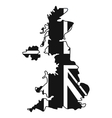 Map of UK of the national flag icon simple style vector image