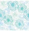 Blue line art flowers seamless pattern background vector image