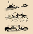 farm landscapes set hand vector image