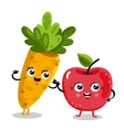 Funny fruit and vegetable cartoon characters vector image