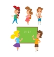 Group school kids going vector image