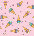 pastel ice cream seamless pattern with cute hearts vector image