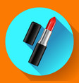 red lipstick flat icon vector image