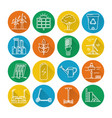 set of energy and ecology line icons with long vector image