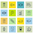 set of 16 eating icons includes cutlery soda vector image