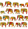 seamless pattern with elephants in ethnic motifs vector image vector image