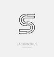 Letter S Labyrinth logo template Line art rebus vector image