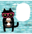 cartoon doodle cat in hipster glasses with coffee vector image