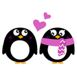 Cute Penguins in love isolated on white vector image