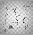 wall cracks transparent checkered vector image