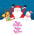 Santa Claus Snowman And Reindeer On Snowdrift vector image