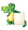A crocodile holding an empty board vector image