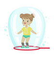 cute little girl standing inside soap bubble vector image