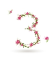 Floral number three for your design vector image