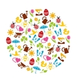 spring icons in circle vector image