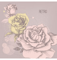 Retro rose background greeting card vector image
