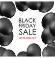 black balloons on white background with vector image