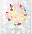 card with doodle fruits and vegetables on white vector image