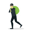 cartoon criminal man or thief with bag vector image