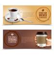 coffee horizontal banners set vector image