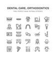dentist orthodontics line icons dental equipment vector image