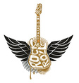 Guitar with wings on grunge background vector image