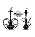 hookah label set shisha hooka waterpipe hubble vector image