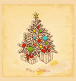 retro christmas card vintage paper background vector image